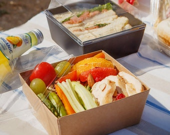 10 High Tray food container with lid, salad box, sandwich box, kraft box, kraft lunch box, disposable box, food box