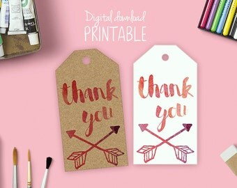 Printable thank you tags in water color texture, gift tags, digital download, boho, watercolor,thankyou, message tags, favor tags,tag