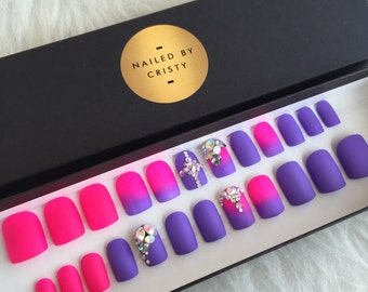 Matte Pink & Purple Ombre Short Square Press On Nails | Real Swarovski Crystals | Summer Nail Art Design | Fake Nails | False Nails