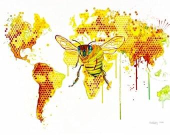 """Originale Malerei auf Leinwand von  Buttafly (Vanessa Brünsing) - A Bees World - 2015 -  23,6"""" x 31,5"""" - 60 x 80 cm - Kunstwerk"""