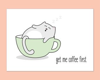 Postcard, cat - kitty in a coffee cup mini print