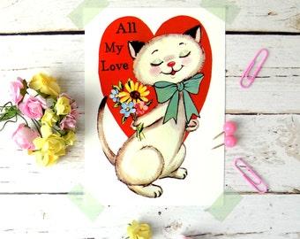 Cat Print Postcard, Cat Print Card, Funny Cute Retro Cat Postcard