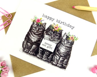 Cat Birthday Card, Funny Cute Crazy Cat Girl Quote Boho Floral