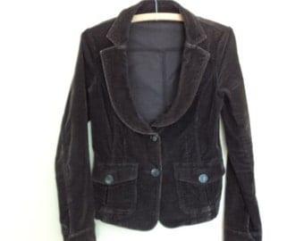 Brown velour rope jacket. Benetton vintage. Brown velour jacket for woman. Vintage.
