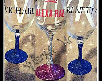 Initial and name wine glass