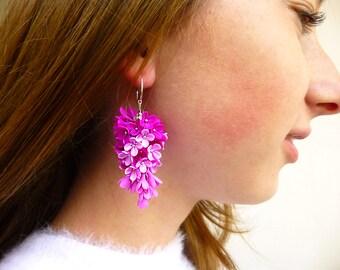 Magenta earrings Gift for women Cute earrings Magenta jewelry Colorful earrings Unique jewelry Clay jewelry Lilac earrings