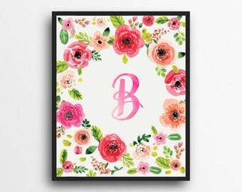 Monogram Letter B Print | Floral Wreath Monogram | Initial Print | Watercolor Floral Print | Digital Download