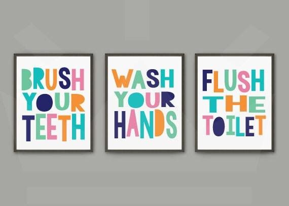 Gender Neutral Kids Bathroom Print Set Brush Wash Flush