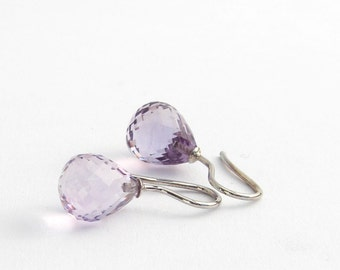 Amethyst faceted earrings, 925 Silver, polished Pampel, classic earrings, pink Amethyst