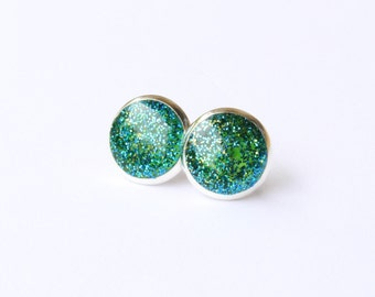 SEA GREEN sparkly stud earrings