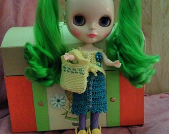 Blythe doll crocheted Skirt, top,  and purse