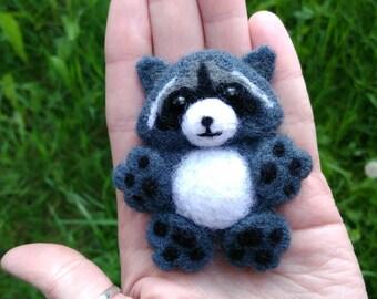 Handmade wool brooch raccoon, needle felted soft brooch, original gift for friend