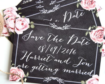 Vintage Chalkboard Wedding Save The Date Card SAMPLE ONLY