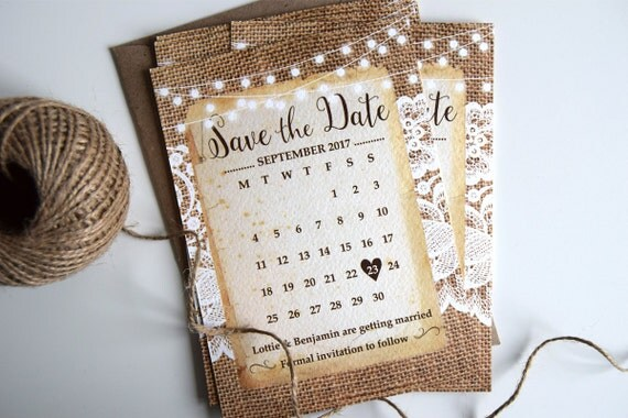 Rustic Burlap & Lace Wedding Save The Date Cards