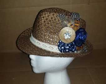 Women's Straw Fedora. MARKED DOWN!