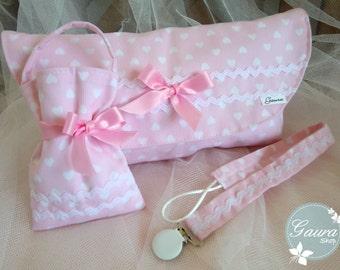 Kit_gaura_Kids: Chupetero-dummy-diaper bag / Diaper bag-Pacifier pod-Pacifier clip / Sac à couches Attache sucette Sac sucette