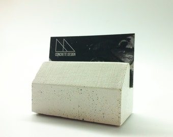 Concrete Business Cards Holder - White Gray or Black geometric design Office Decor