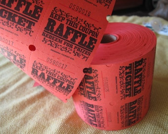 Two Part Red Raffle Tickets (choice of quantity) / Red prize tickets / Numbered red tickets / scrapbooking tickets