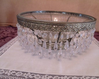 Decorative Glass Bowl/ with Metal Stand and Decorative Beats, (# 613/27)