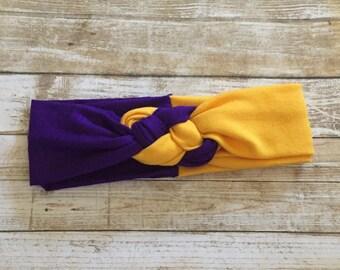 Purple & Gold Headband/Purple and Gold Baby Headband/Minnesota Football Headband/Baby Football Headband/Baby Headwrap/Vikings Headband/Baby