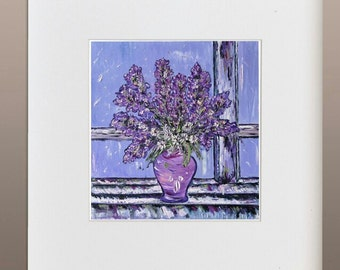 Original Oil Painting - Gentian at the Window