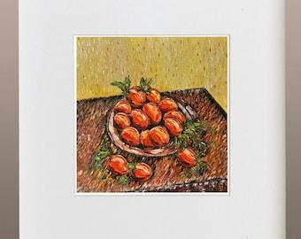 Art Print - Apricots on plate