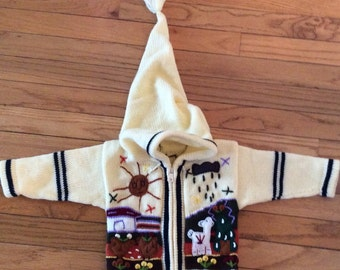 Vintage kids hooded sweater/ chaupi pacha/vintage