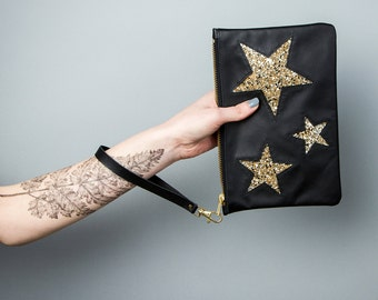 STARDUST LEATHER CLUTCH