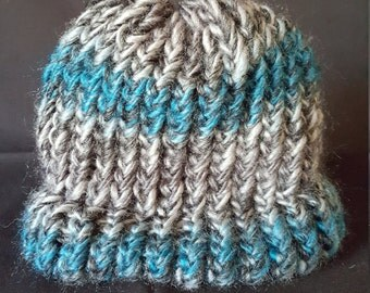 Turquoise and Grey Infant Beanie