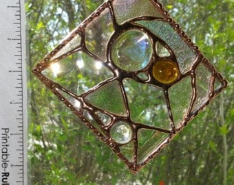 Clear/amber/copper abstract geometric