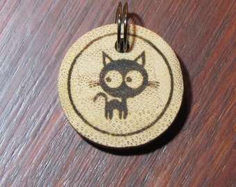 Kitten Cat Bamboo Tag - Cat Tag - Pet Tag