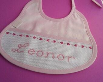 Baby bib- cross stitch bib- handmade monogrammed bib- Cotton bib- baby gift- Baby Shower gift- hand embroidered- cross stitch- personalized