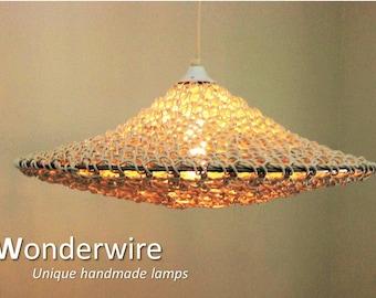 Large design pendant lamp - Ufo white 50cm - Wonderwire, Unique handmade lamps