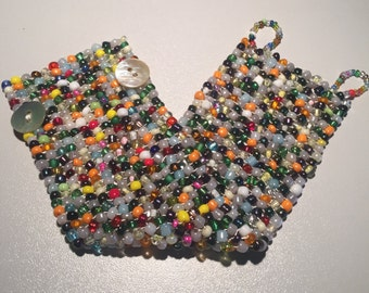 Beaded bracelet, Woven bracelet, Seed Bead Bracelet, Multicolor, Handwoven, Beaded cuff