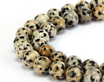 Nice Smooth Dalmatian Jasper Gemstone Round Loose Beads 4mm/6mm/8mm/10mm Approximate 15.5 Inches per Strand.R-S-JAS-0204