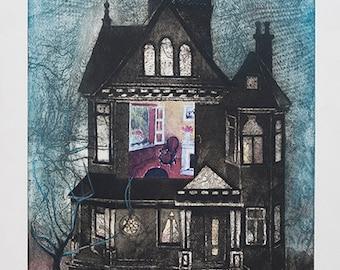 Inner Sanctum/Victorian House, etching