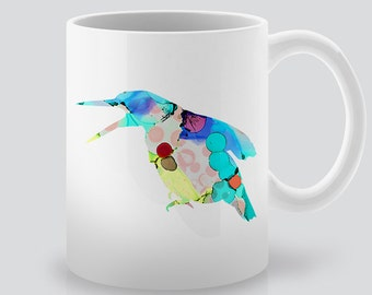 Watercolor Bird Ceramic Mug - Ceramic Mug - Coffee Mug - Tea Mug - Colorful Illustration