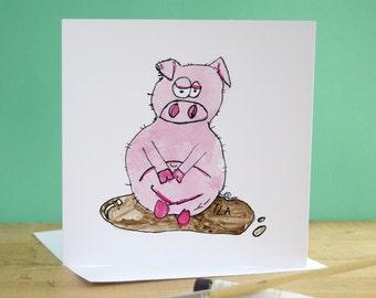 Blank Card - Greeting Cards - Pig Art - Pig Illustration - Original Art Card