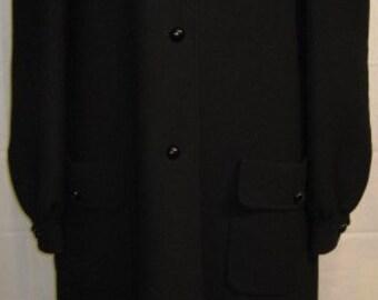 Vintage 1970s Andre Laug Black Wool Coat Size 12