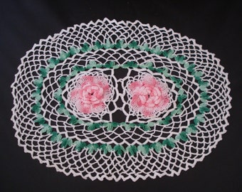 Hand crocheted white/pink/green doily
