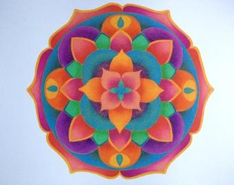 SALE Mandala art print, original art work, coloured pencil medium, hand drawn, colourful mandala print, sacred geometry,  size A3