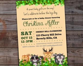 Woodland Baby Shower Invitations | Woodland Creatures Baby Shower | Raccoon | Deer | Squirrel | Skunk | Woodland Animals Baby Shower Invites