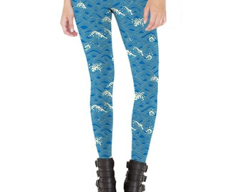 Japanese waved patterned Leggings - Made in U.S.A