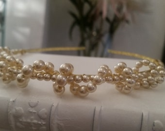 Cream White Pearl Beaded Headband, Gold plated. Weddings, Brides, Bridesmaids, Parties