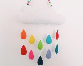 Rainbow rain cloud wall hanging mobile with multicoloured raindrops