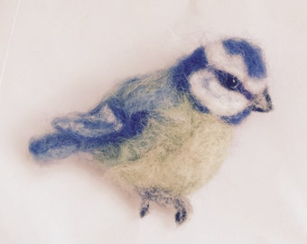 Needle Felted Blue- Tit Brooch