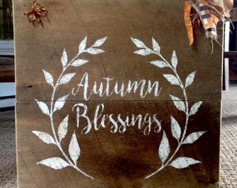 Rustic Barnwood Autumn Sign