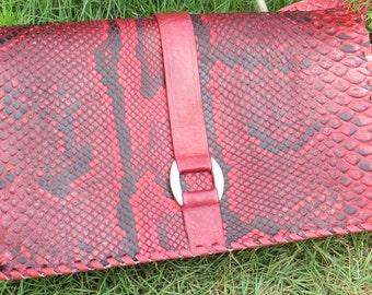 Red Snake Skin Gola Shoulder Bag (Mini) with ankara lining, snakeskin bag, crossbody bag,mini shoulder bag, adjustable strap