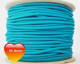 50 M rubber cord 3 mm turquoise