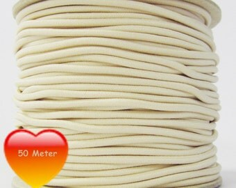 50 M rubber cord 3 mm cream